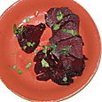 Roasted beets with cilantro and red wine vinegar